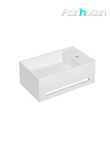 Lavabo Solid Surface con toallero Ravello 50 x 30 x 20 cm blanco