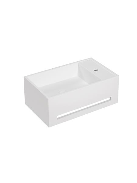 Lavabo Solid Surface con toallero Ravello 50 x 30 x 20 cm. Un lavabo suspendido con playa para la grifería de baño en acabado brillo o mate.
