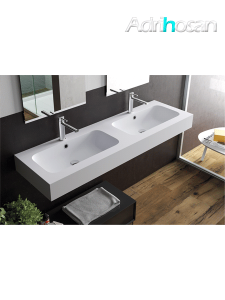 Lavabo Solid Surface rectangular Il Calice 140.5 x 46 x 12 cm 2 senos