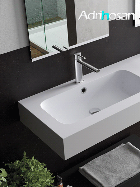 Lavabo Solid Surface rectangular Il Calice 120.5 x 46 x 12 cm blanco