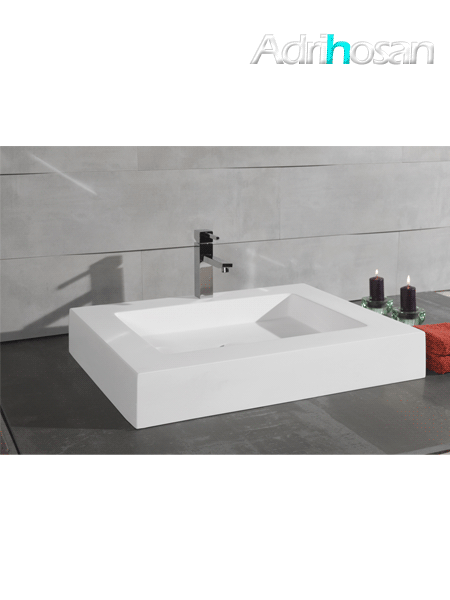 Lavabo Solid Surface rectangular Manarola 61 x 41 x 8 cm blanco