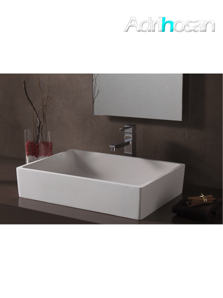 Lavabo Solid Surface rectangular Milano 50 x 35 x 11 cm blanco
