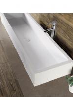 Lavabo Solid Surface rectangular Monte Isola 83 x 36 x 15 cm. Un lavabo tipo abrevadero de gran longitud fabricado en brillo o mate en Solid Surface.