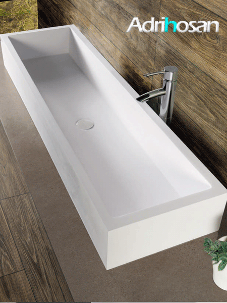 Lavabo Solid Surface rectangular Monte Isola 123 x 36 x 15 cm blanco