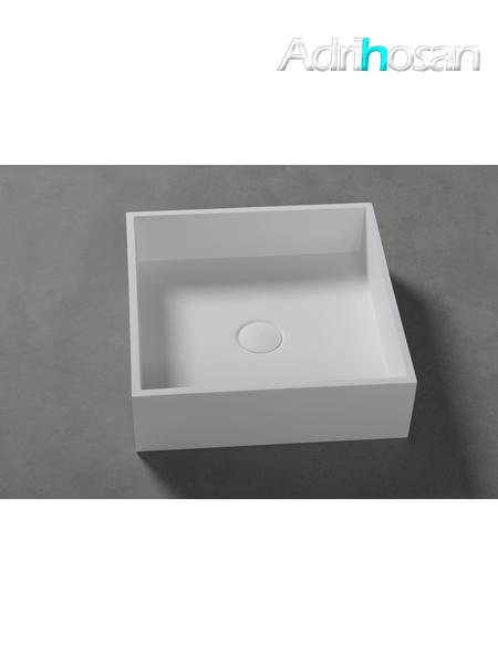 Lavabo Solid Surface cuadrado Quattro 40 x 40 x 12 cm blanco