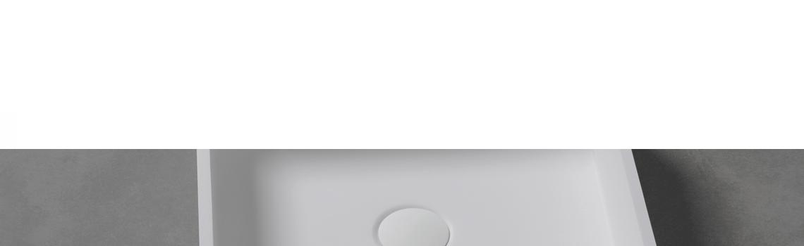 Lavabo Solid Surface cuadrado Quattro 40 x 40 x 12 cm. Un lavabo con bonita forma estilizada fabricado en brillo o mate en Solid Surface.