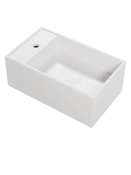 Lavabo Solid Surface Ravello 50 x 30 x 15 cm. Un lavabo suspendido con playa para la instalación de la grifería de baño en acabado brillo o mate.