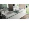 Lavabo Solid Surface rectangular Sottile 37 x 37 x 13 cm. Un lavabo con bonita forma estilizada fabricado en brillo o mate en Solid Surface.