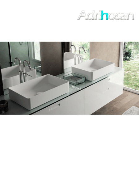 Lavabo Solid Surface rectangular Sottile 58 x 37 x 13 cm blanco