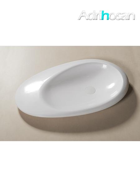 Lavabo Solid Surface ovalado Stone 87,7 x 50 x 9 cm blanco