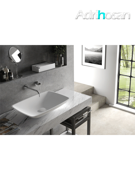 Lavabo Solid Surface rectangular Tesello 63,5 x 42,4 x 12 cm blanco
