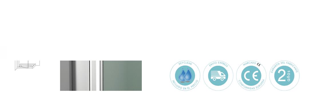 Mampara abatible cristal transparente Perú 85 cm con antical. La mampara dispone de retenedor a 90º y 0º con vidrio de 6 mm.