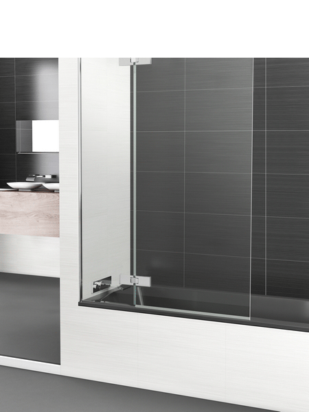 Mampara bañera abatible + fijo cristal transparente Selecta Sport con antical. Vidrio templado Securizado 8mm.Apertura interior exterior con retención de 0º a 90º