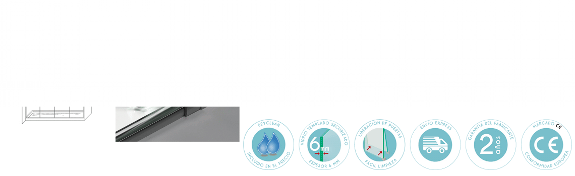 Mampara corredera cristal transparente Venecia con antical 4 puertas.Guía inferior con dispositivo de liberación de puertas para facilitar la limpieza