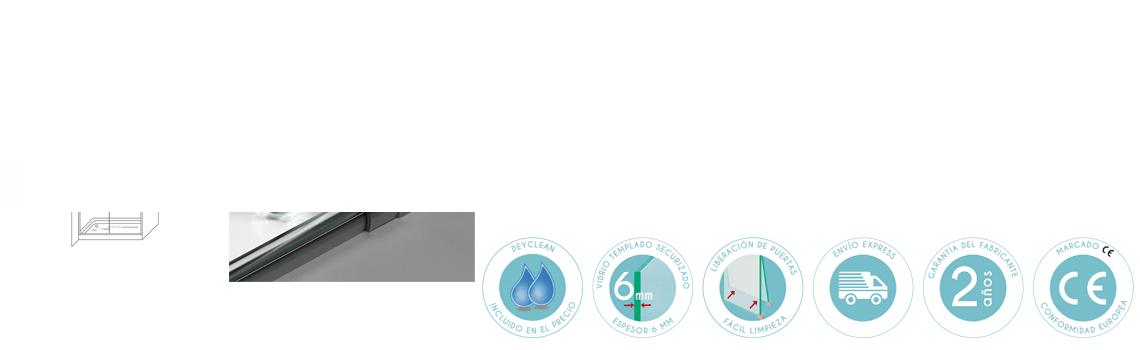 Mampara corredera cristal transparente Venecia con antical 96 a 180 cm.Guía inferior con dispositivo de liberación de puertas para facilitar la limpieza