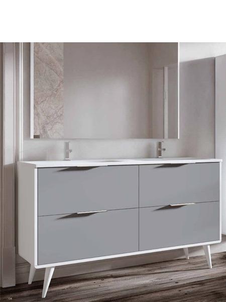 Mueble de baño a suelo Vintass 140 4 cajones blanco mate con encimera mineral marmo de 2 senos y columnas supendidas y espejo a juego.