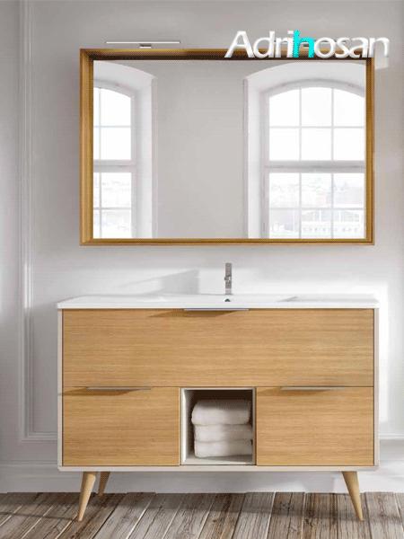 Mueble de baño a suelo Vintass 120 3 cajones panna mate y roble