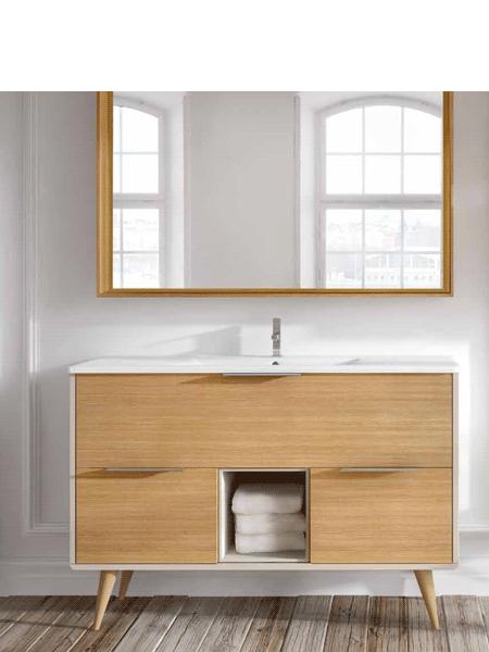 Mueble de baño a suelo Vintass 80 3 cajones panna mate y frentes chapa roble con encimera porcelana 1 seno, espejo a juego y auxiliares dado.
