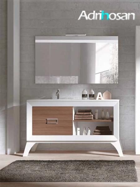 Mueble de baño a suelo L-gant 120 cm 2 cajones blanco y chapa nogal