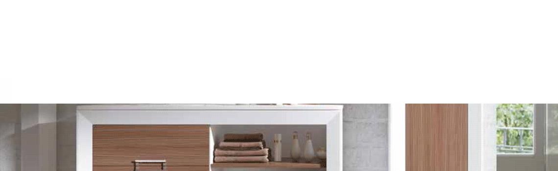 Mueble de baño a suelo L-gant 120 cm 2 cajones blanco y chapa nogal. Un bonito mueble de baño de fabricación nacional, realizado con maderas hidrófugas.