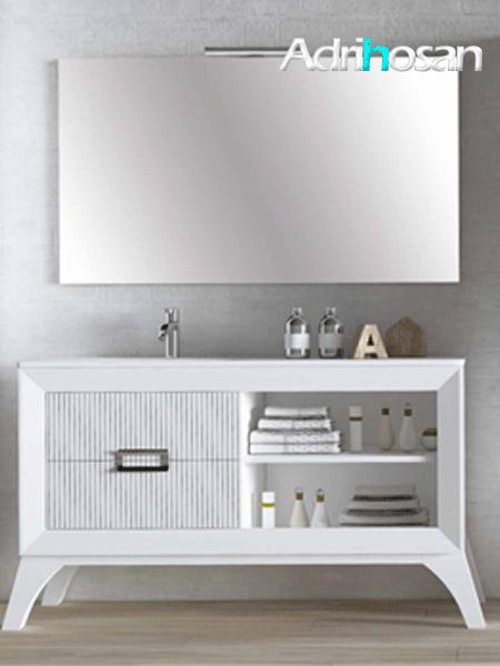 Mueble de baño a suelo L-gant 120 cm 2 cajones blanco mate lineas grafito