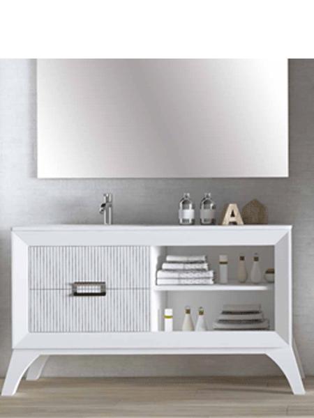 Mueble de baño L-gant 120 cm 2 cajones blanco mate líneas grafito. Un bonito mueble de baño de fabricación nacional y de calidad premium, realizado con maderas hidrófugas.