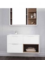 Mueble de baño suspendido Vintass 120 3 cajones Blanco mate.Con encimera de seno desplazado mineral marmo de 120 cm y camerino a juego.