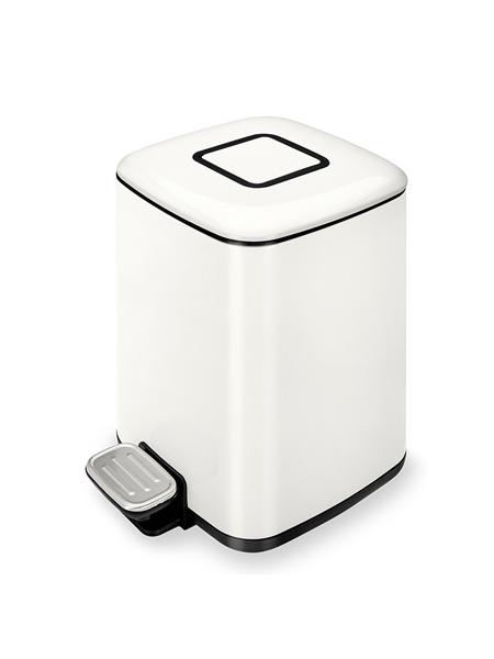 Papelera con pedal, depósito y disipador de olores 9 litros blanca.Dispone de asa exterior, apertura y cierre suave, disipador de olores.