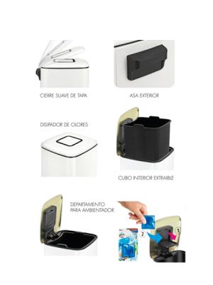 papelera con pedal deposito y disipador olores 9 litros blanca