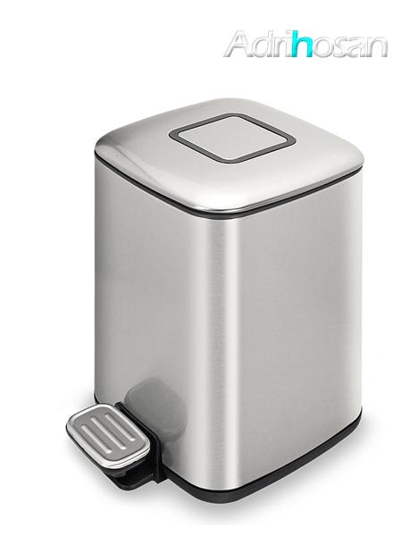 Papelera con pedal, depósito y disipador de olores 9 litros cromada