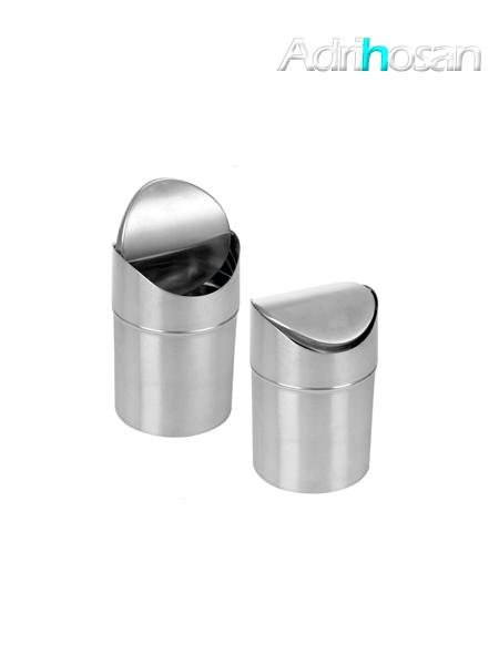 Papelera con tapa basculante acero inox curva- Accesorio de baño