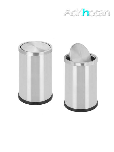 Papelera con tapa basculante acero inox recta- Accesorio de baño