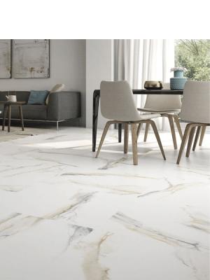 Pavimento porcelánico rectificado Atlantis Gold pulido 75 x 75 cm.Un azulejo para suelos y paredes que imita al mármol Calacatta Gold.
