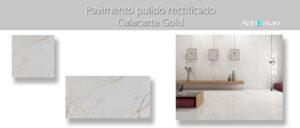 Pavimento porcelánico rectificado Calacatta Gold pulido 60 x 120 cm.