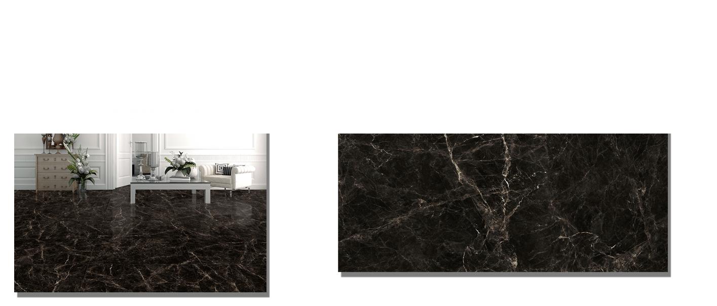 Pavimento porcelánico rectificado Dark emperador brillo 60 x 120 cm. Un azulejo para suelos y paredes que imita al mármol Emperador mediante la impresión digital