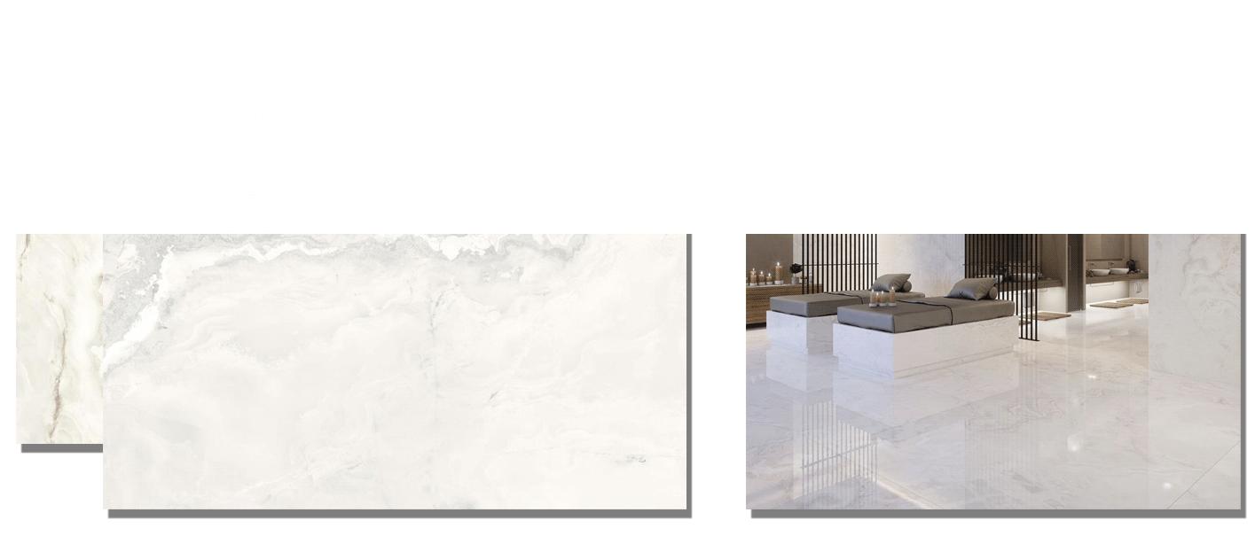 Pavimento porcelánico rectificado Onice brillo 60 x 120 cm. Un azulejo para suelos y paredes que imita al mármol Onice mediante la impresión digital