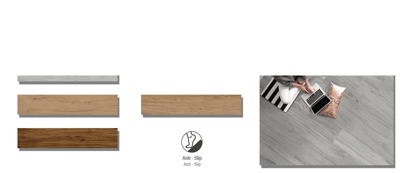 Pavimento porcelánico rectificado Praga 22.5 x 119.5 cm imitación madera. Un azulejo antihielo válido para paredes y suelos.