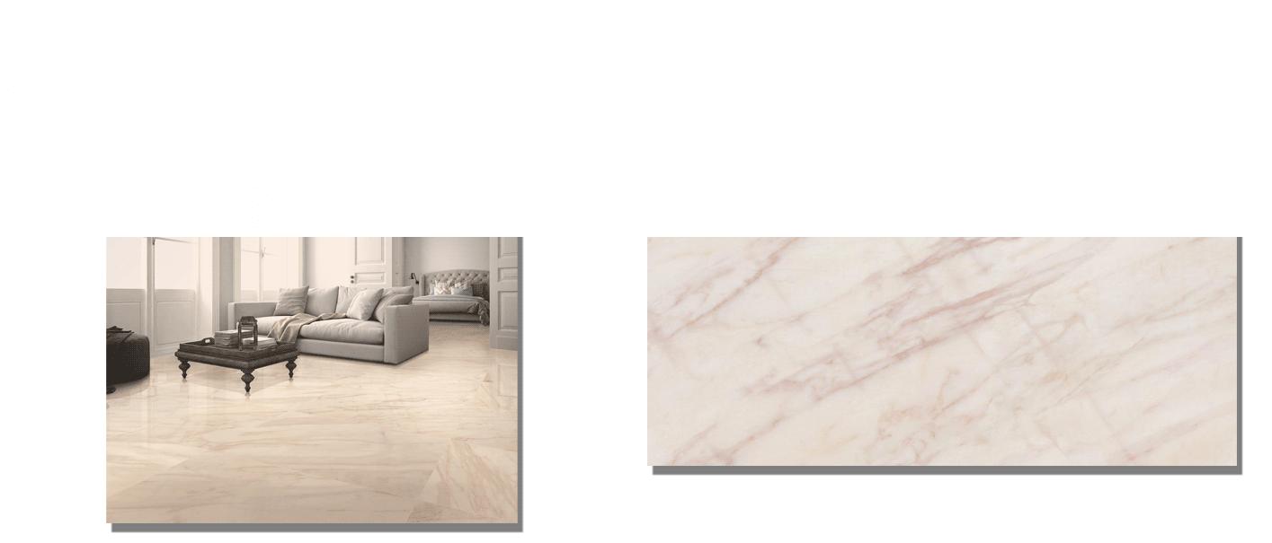 Pavimento porcelánico rectificado Rosa Portugal brillo 60 x 120 cm. Un azulejo para suelos y paredes que imita al mármol Rosa Portugal mediante la impresión digital