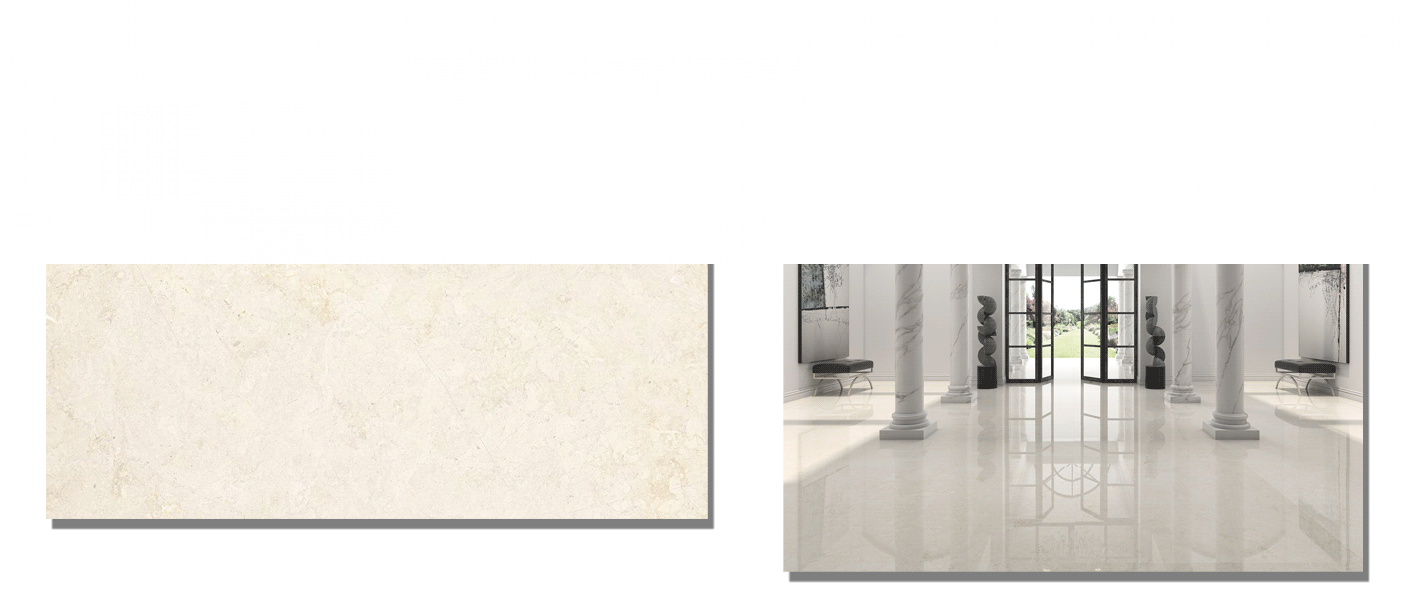 Pavimento porcelánico rectificado Versailles brillo 60 x 120 cm. Un azulejo para suelos y paredes que imita al mármol mediante la impresión digital