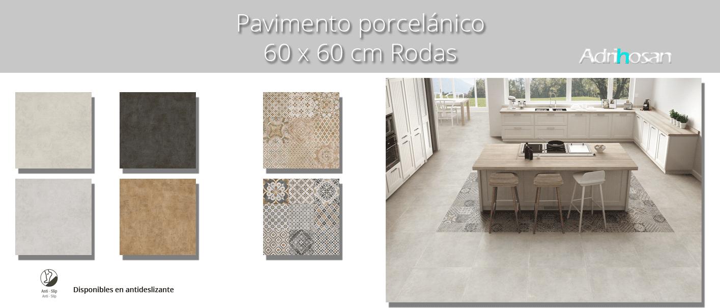Pavimento porcelánico Rodas 60x60 cm.Un azulejo para suelos y paredes que imita al cemento para diseños industriales de interior o exterior.