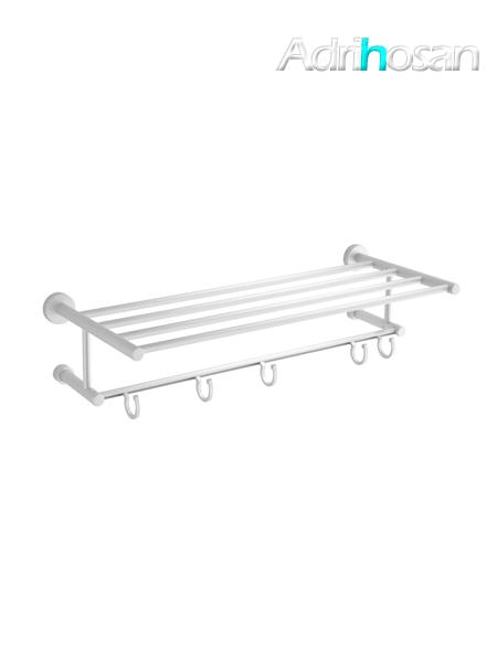 Porta toallas con perchas móviles aluminio mate 61 x 14 x 22 cm