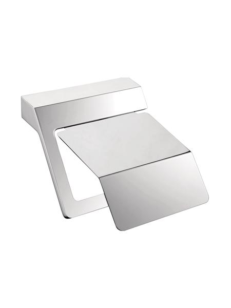 Portarrollo con tapa a pared serie Líria- Accesorio de baño. Accesorio de baño fabricado en acero inoxidable de primera calidad acabado Cromo.