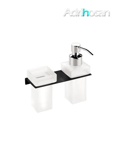 Portavaso más dosificador de jabón a pared negro serie Castellón- Accesorio de baño