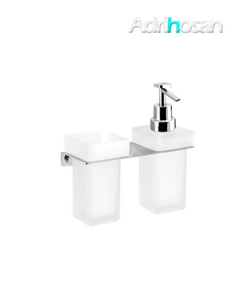 Portavaso más dosificador de jabón a pared serie Castellón- Accesorio de baño