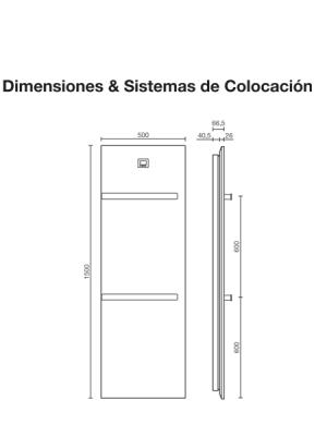 Radiador secatoallas eléctrico Vulcano Pizarra de Fiora. Sistema eléctrico. Silexpol es el material utilizado para la transferencia de calor.