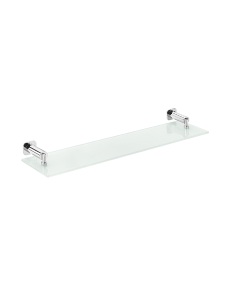 Repisa de cristal a pared serie Bilbao- Accesorio de baño. Accesorio de baño fabricado en latón de primera calidad acabado cromo.