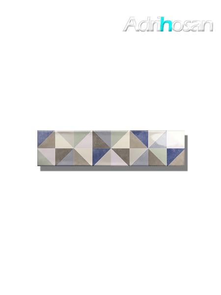 Revestimiento decorado pasta blanca metro Ocean triangle mix 7.5x30 cm (1 m2/cj)