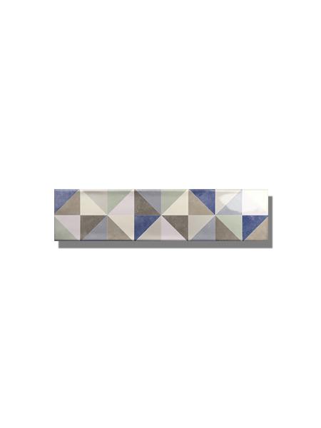 Revestimiento decorado pasta blanca metro Ocean triangle mix 7.5x30 cm. Un azulejo clásico fabricado con pasta blanca ideal para decoraciones retro y vintage.
