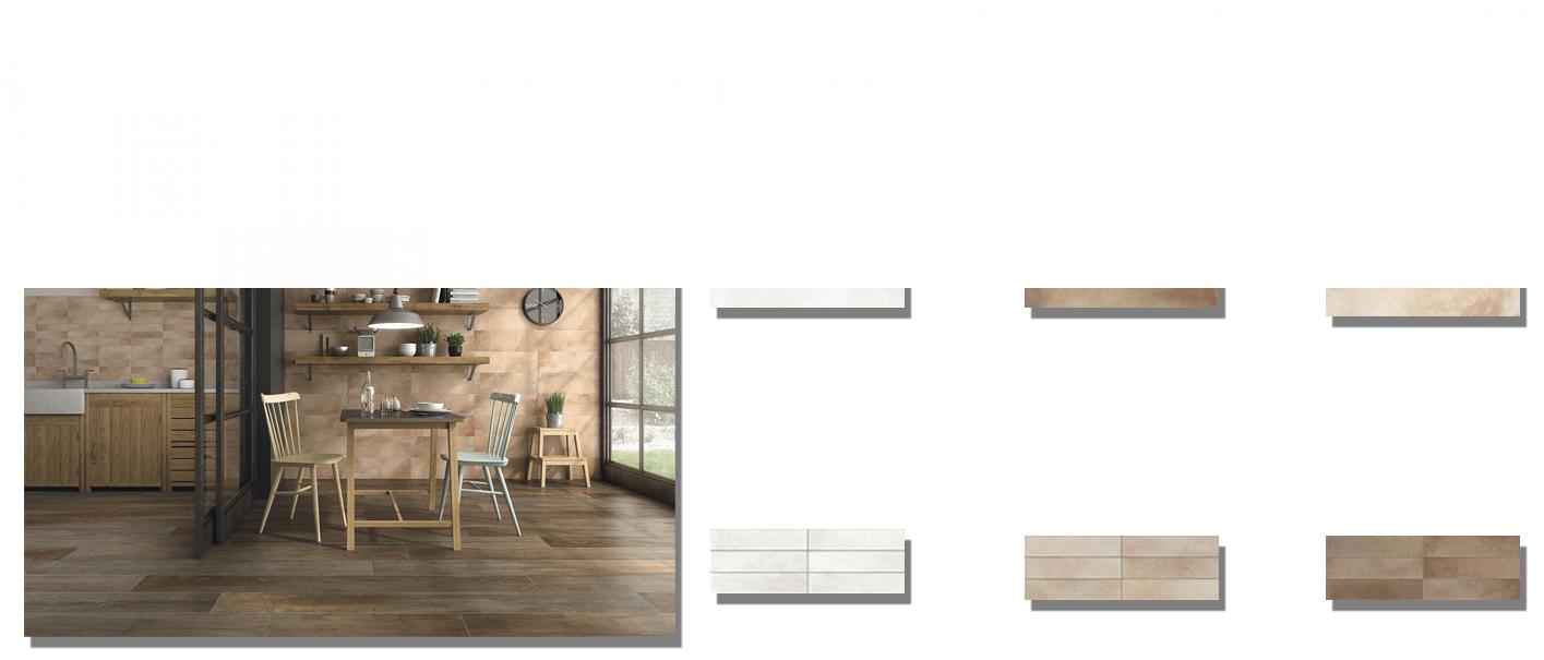 Revestimiento terra mate 20x60 cm. Una serie de azulejos para paredes que imitan a la baldosa de barro tradicional. Ideales para cocinas y baños.