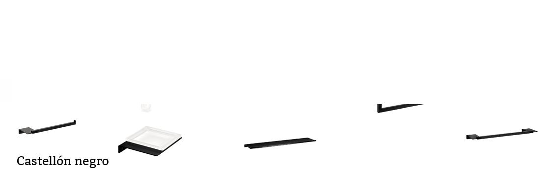 serie Castellón- Accesorio de baño. Accesorio de baño fabricado en latón de primera calidad acabado NEGRO, cristal matizado.